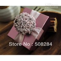 Wholesale - European Flowers Pattern Style Wedding Candy Box Case With Silk Ribbon Wraps Wedding Party Gift