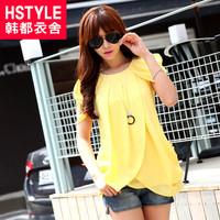 summer women's solid color o-neck loose short-sleeve chiffon shirt ej2218