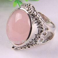 Natural Pink Crystal Bead Inlay Finger Ring Size 10 Free shipping X042