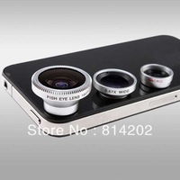 Brand New 3in1 Universal Phone kit Fisheye Lens Wide Angle Micro Lens for Mobile Phone free shipping