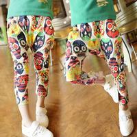 2013 autumn girls clothing children's pants multicolour mask skull print harem pants all-match trousers