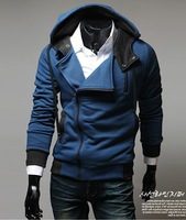 Free Shipping 2013 New Korea Men's Fashion Stylish Slim Fit Zip Hooded Hoodies Jackets Coats 3 Color 4 Size