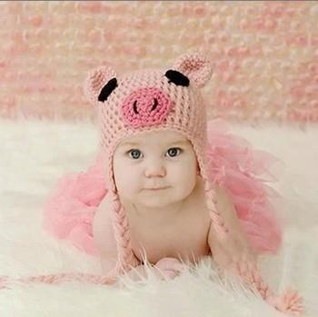 Retail Cartoon Cotton Handmade Children Crochet Hats  Animal Styles Baby Pig Beanie hat Kids Flower cap Photography Props