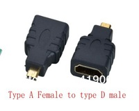DHL Free shipping Colorful HDMI Female to Micro HDMI Male Type D Adapter Converter HDTV,  500pcs/lot