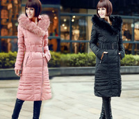 2014 new fashion raccoon fur ultra long over-the-knee thickening slim down coat women  winter down jacket with fur