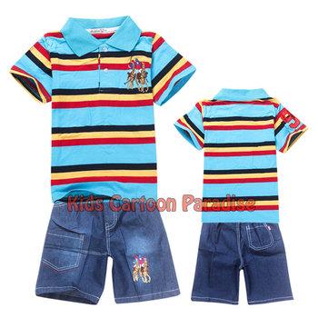 2013 new Baby suit boy girls Sport suits baby 2pcs set 100% cotton kids short sleeve t shirt+short jeans children clothing sets