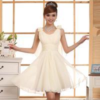 2015 new arrival Bride double-shoulder spaghetti strap waist slim princess dress  short design evening dress