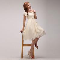 2014 new arrival high waist of the small short slit neckline plus size bridesmaid dress short-sleeve dress prom dress