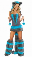 Intimate love / DL blue and gray striped rabbit costumes sexy Catwoman costumes denim 8523