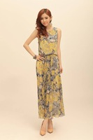 2013 summer short-sleeved floral chiffon jumpsuit dress big skirt high waist skirt Bohemia Long dress
