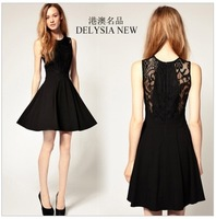Free shipping 2013 spring and summer Hepburn little black dress lace chiffon princess dress Slim European and American retro