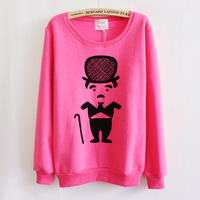 cartoon Chaplin fleece good quality autumn-winter womens  sweatshirts long sleeve o-neck hoodies 5 color free shipping