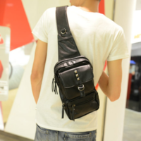 Chest pack male shoulder bag rivet messenger bag male backpack fashion casual bag men fashion