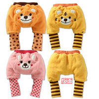 Wholesale New 2013   Winter Girls/Boys  Fleece Animal Motifs Tiger PP Trouses Fit 0-3yrs Baby Clothing Children pants 9pcs/lot