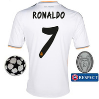 Champions League Ronaldo #7 Real Madrid UEFA Home Thailand Quality Soccer Jersey 2013/14, free shipping Size: S - XL.
