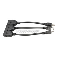 BUH9 3Pcs Micro USB Host OTG Cable for Samsung Galaxy S3 HTC MP3 MP4 Tablet PC