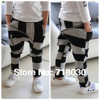 Hot 2013 new Children's clothing  black and gray stripe big zipper child 100% cotton harem pants kids casual pants&Trousers