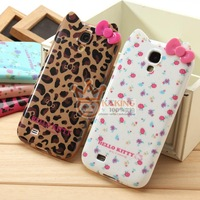 Free shippng New arrival Cartoon Pattern Hello kitty 3D Cute Case For Samsung note 2 N7100 Flower Leopard BOW TPU Soft silicone