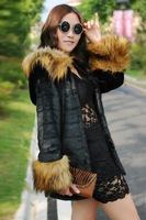 2013 new artificial rabbit fur hooded coat raccoon fur collar and long sections Slim Korean female special faux fur coats