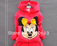 Children's clothing kids spring and autumn female girls 2013 sportswear set cartoon Mickey Sport suit coat+pants