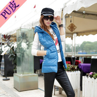 free shipping lady vest jakcet down cotton-padded jacket vest female PU vest with a hood plus size vest outerwear