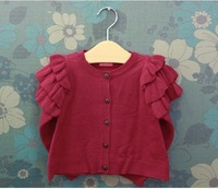 free shipping SW3091  girls baby red cotton sweater  cardigan ,ruffle sleeve sweater,kids spring coat