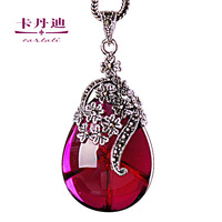 Silver jewelry thai silver 925 silver necklace pendant female pendant pure silver gem flower inlaying royal