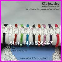10 pcs Wholesale  Silver hello kitty bracelet,leather hello kitty bracelet