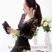 2pcs/lot Winter and Autumn Women's Plus Size Slim Long-sleeve Basic All-match Bag Slim Sexy One-piece Dress