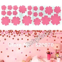 New DIY Pink Beautiful Flowers Removable Home Wall Decal Sticker Kids Room Art Decor Paper 57.5 x 19cm 6466