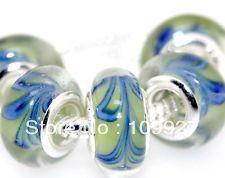 500pcs 925 Silver Murano Glass Beads Fit All European Charm Bracelet hallmarked M40(China (Mainland))