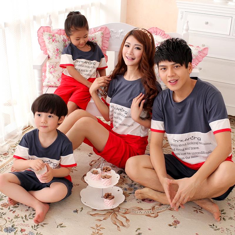 100% cotton parent-child sleepwear summer cotton parent-child 100% lounge short-sleeve lovers sleepwear(China (Mainland))