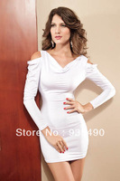 2013 Free shipping White Women's Sexy White Long Sleeve Stretchy Clubwear include the Matching G-string Fetish Lingerie SC9357
