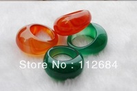 Natural agate paragraphs BanZhi male female red, yellow, green, green purple black bow agate rings