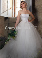 Hot Sale EA0036 Bateau Neckline Skirt Sparkly Beading Corset Pure Pearl Long Trail Wedding Dress