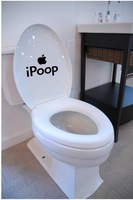 ebay hot selling,iPoop Toilet Seat Decal/Sticker Wall Mural Art Bathroom Apple Creative Funny Joke,free shipping,Wholesale