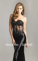 Hot 2014 New Arrival Sheath Sweetheart Strapless Bodice With Beaded Lace Appliques Sexy Prom Dresses YZ090406