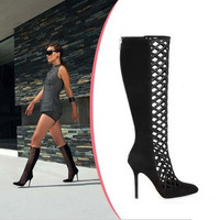 Hot Sale!!! New Fashion Brand Women Summer Cut-out Boots Knee High Gladiator Heels Genuine Leather Shoes Big Size 41