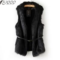 2013 Fall Fashion Aristocratic Style Soft Splicing Woollen Black Fur Vest Free Belt Free Shipping D16-1-3S066-X03