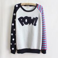 2014 new brand stripe PULLOVER Ladies' long sleeve fleeces hoodies Cotton Sweatshirts polka dot round neck Harajuku WH-010