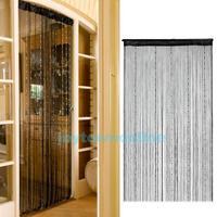 Decent Fringe Door Curtain Drape String with Bead Chain Decor 1X2M Black #1JT