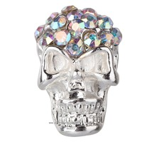 free ship 10 pieces/pack 3D Colored Stone Solid Skull Alloy AB rhinestone Nail Art iphone mobile Glitter Decoration