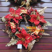 Christmas decoration christmas wreath door trim 30-40cm christmas wreath christmas flower belt bow