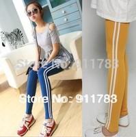 Free Shipping High Quality 2014 Women's Warm Leggings Fashion Vertical Stripes Slim Elastic Pants Sport Leggings