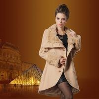 Fashion woolen outerwear medium-long women's 2013 slim fur collar cashmere overcoat