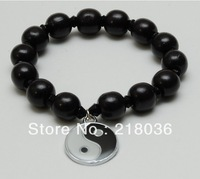 Supernova Sale  Free shipping  20Pcs Tai Chi Black Wood Beads Vintage Yin Yang Charm Bracelet  DIY Jewelry Making Findings N453