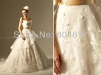 High Quality EA0040 Sweetheart Handmade Flowers Ball Gown Organza Embroidery Wedding Dress