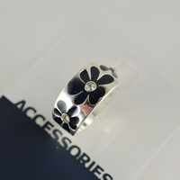 B22 fashion accessories silver oil diamond flower graphic patterns ring w335
