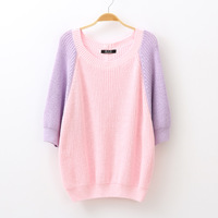 2013 autumn Women sweet color block decoration three quarter sleeve sweater