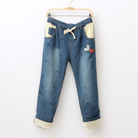 2013 autumn women's embroidery love lace up roll hem denim trousers straight pants